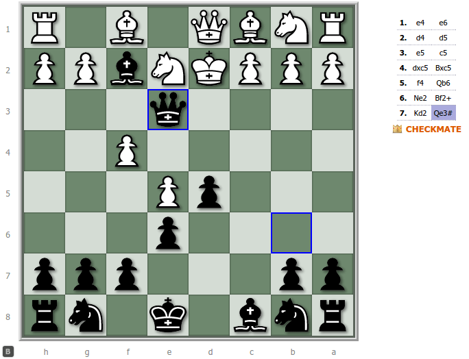 French Defense Advance Variation - White loses in 7