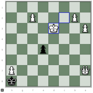 Stalemate in chess can emerge from careless play, such as Kd3...
